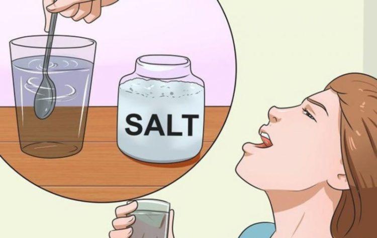 полоскание рта солью от афты (язвы во рту)