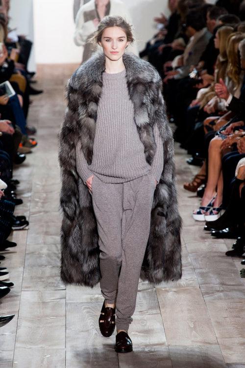 03 michael kors fall 2014 runway gray sweatpants top fur jacket