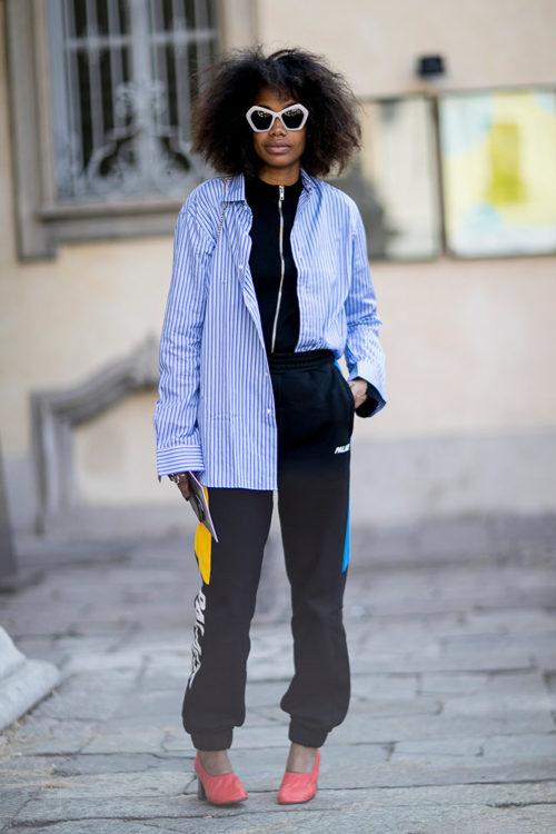 07 black sweatpants striped shirt heels street style
