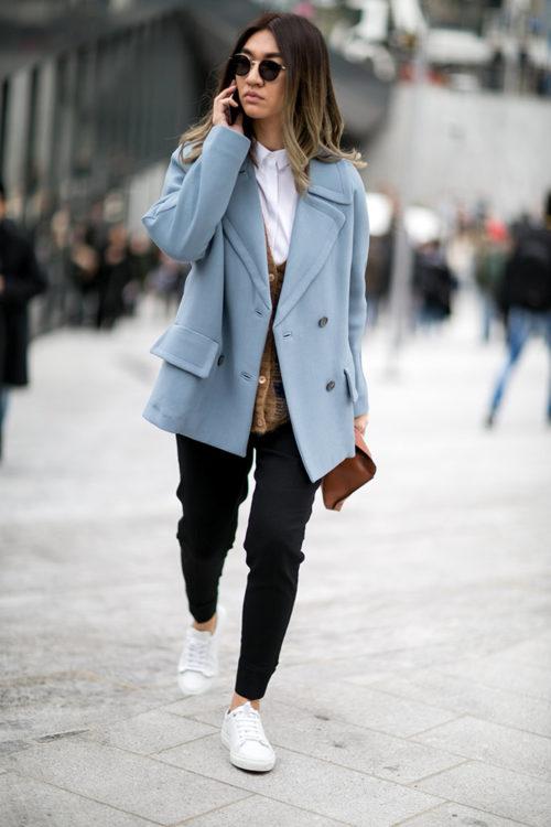 11 black sweatpants blue coat street style