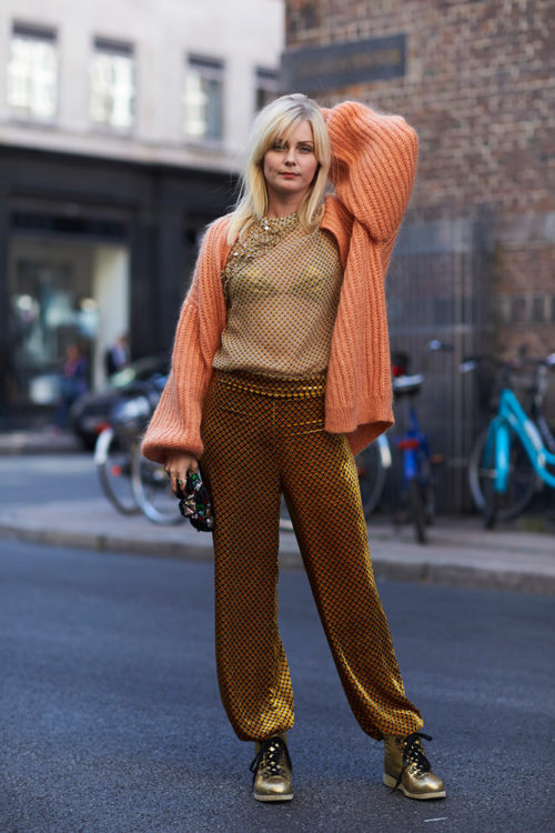 12 gold sweatpants sheer top peach cardigan street style