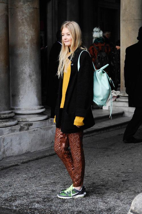 17 bronze sweatpants black coat yellow sweater street style