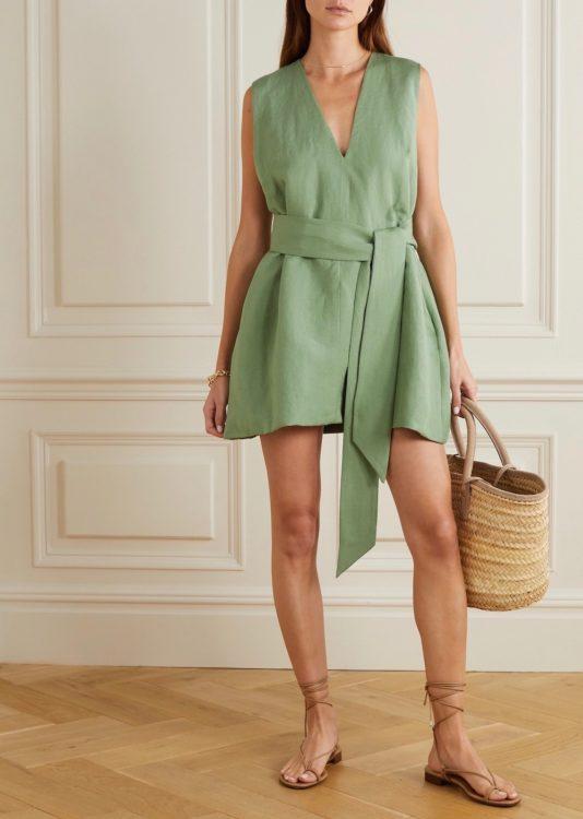 bondi born net sustain lg electronics belted linen mini dress
