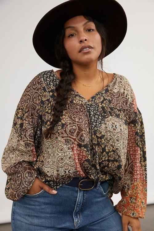 daniel rainn cally patchwork peasant blouse