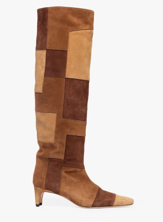staud wally boot tan patchwork