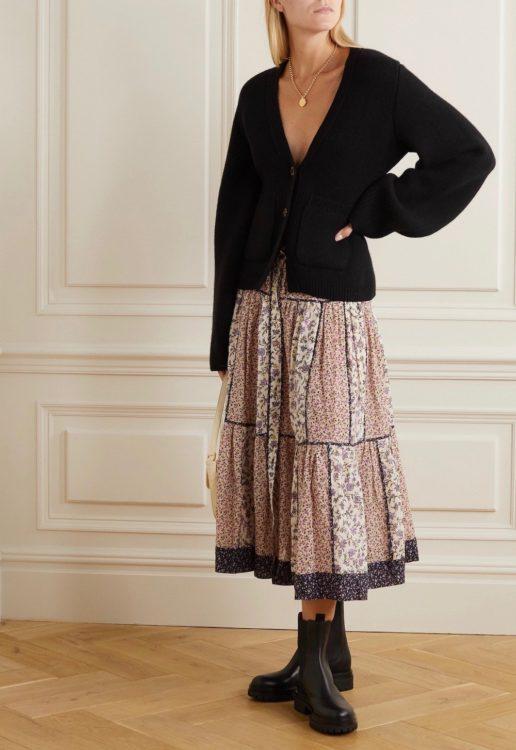 ulla johnson josephine tiered floral print cotton blend voile midi skirt