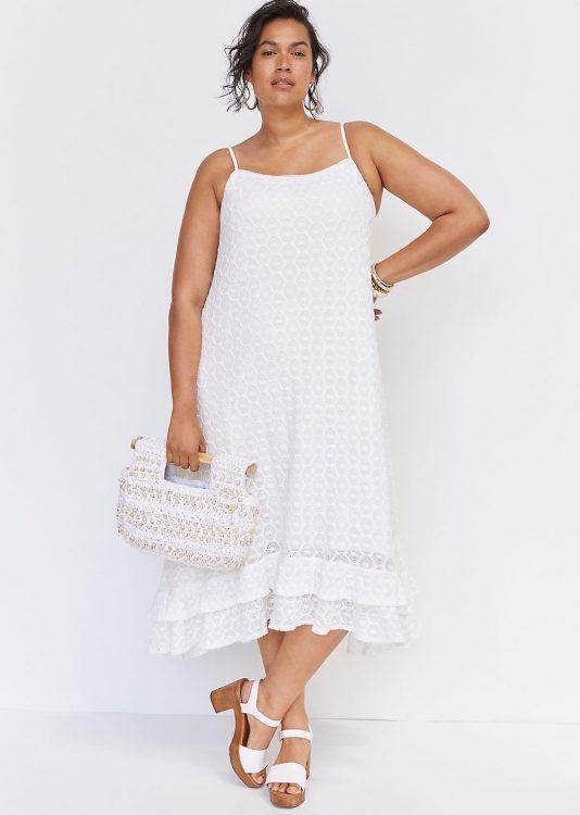 anthropologie ruffled crochet midi dress