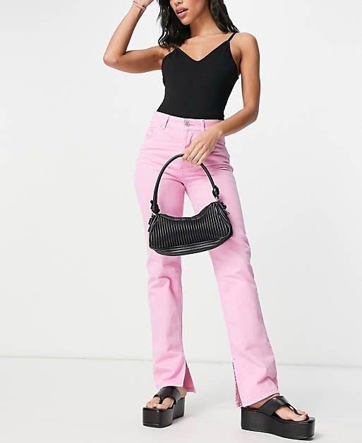 asos design mid rise 90s straight leg jeans in hot pink with split hem