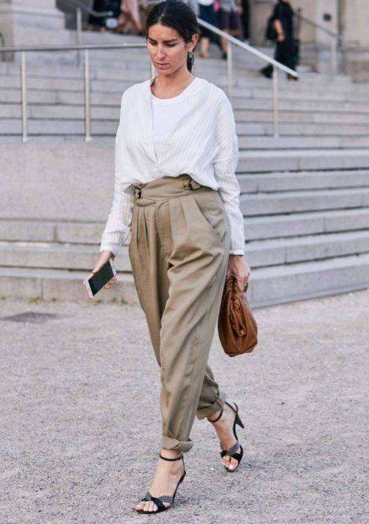copenhagen spring 2020 mannish tailoring white shirt high waisted beige pants