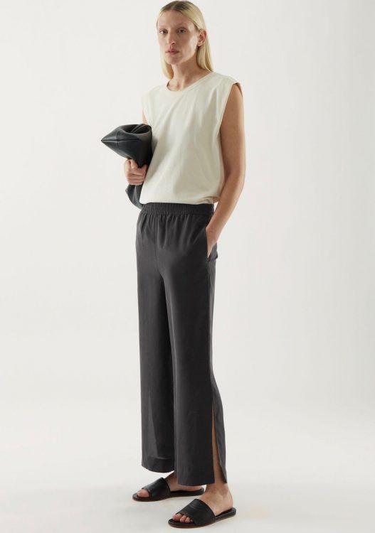 cos silk wide leg split seam pants