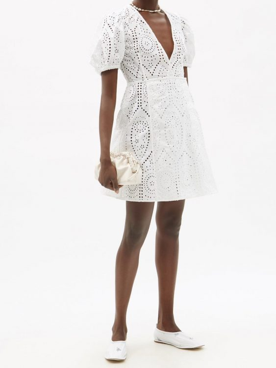 ganni crossover broderie anglaise organic cotton dress
