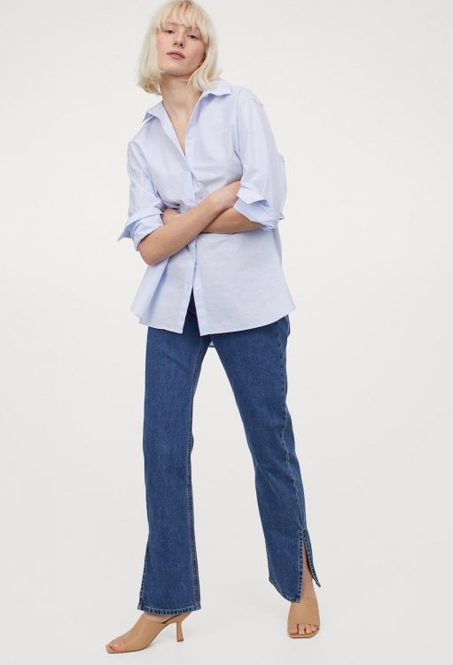 hm straight high split jeans