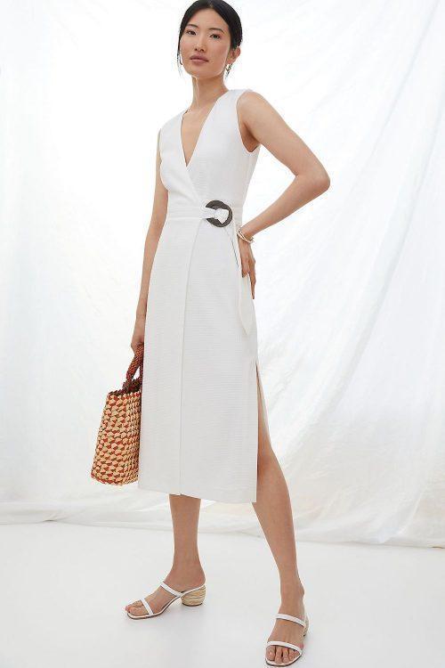 hutch v neck wrap midi dress