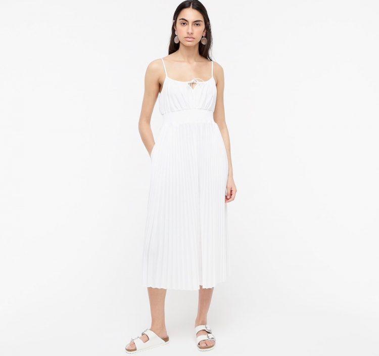 jcrew smocked waist pleated dress