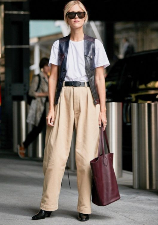 new york spring 2020 mannish tailoring white t shirt leather vest baggy pleated beige trousers