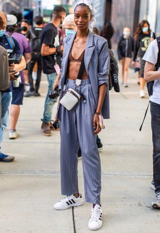 new york spring 2021 mannish tailoring blue pinstripe suit bra top sneakers