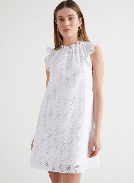 other stories frilled broderie anglaise mini dress