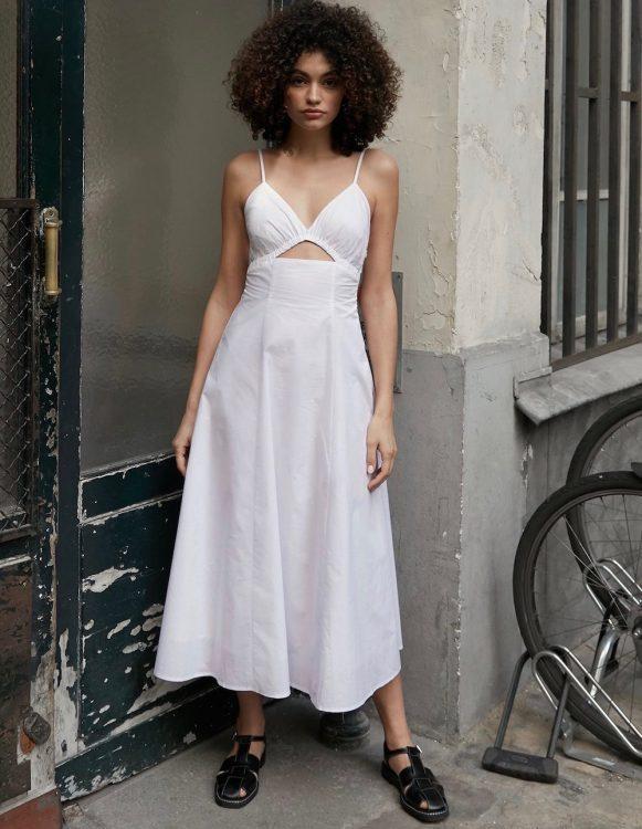 pixie market santorini white cut out dress