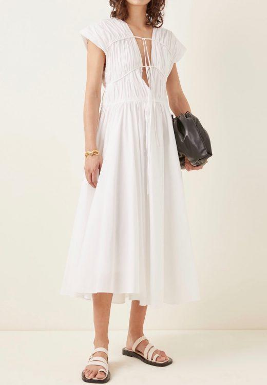 tove ceres pleated organic cotton midi dress