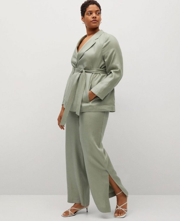 violeta by mango committed side slit linen blend trousers