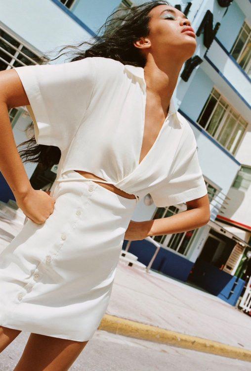 zara cut out linen blend dress