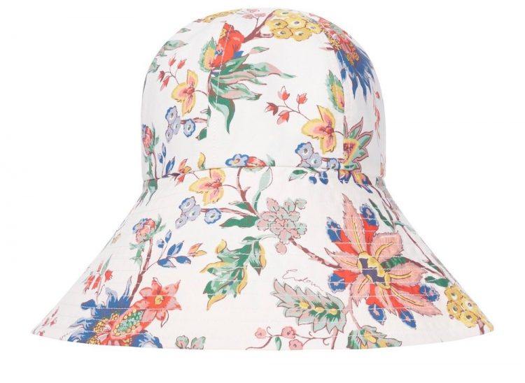 erdem vacation floral cotton poplin bucket hat