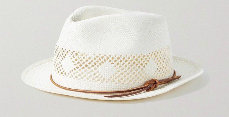 rag bone trilby leather trimmed straw panama hat