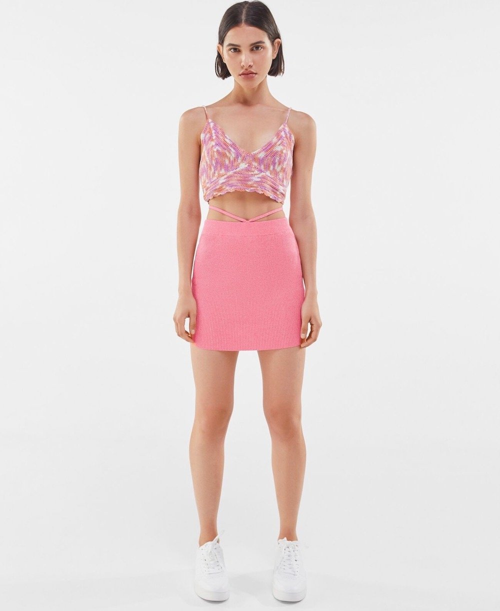 bershka mini skirt with straps on the waist