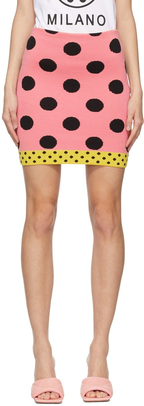 moschino pink polka dot miniskirt