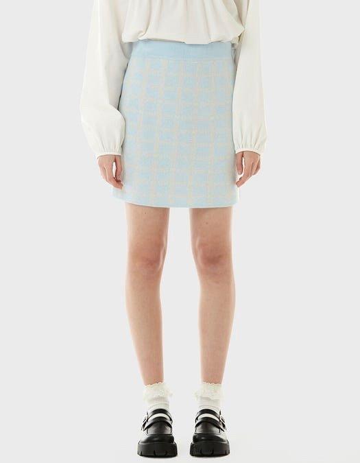 rolarola check jacquard knit skirt