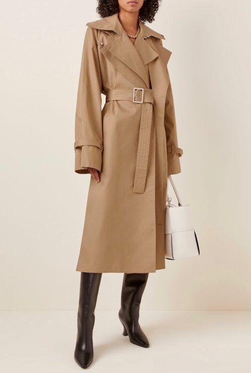 boyarovskaya belted cotton blend gabardine trench coat
