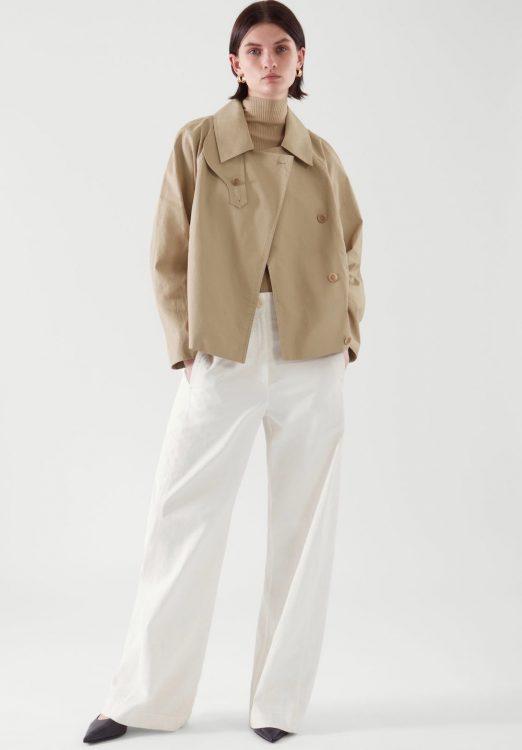 cos short linen trench jacket