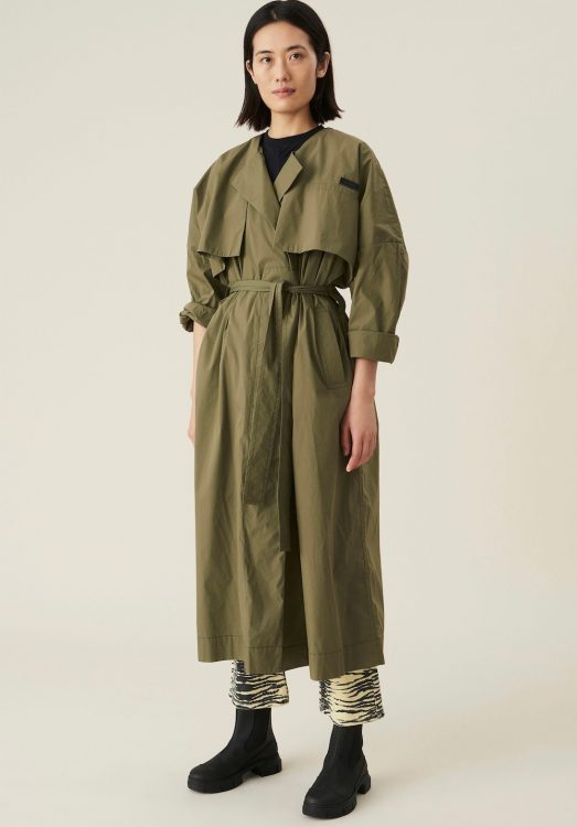 ganni stretch canvas trench coat