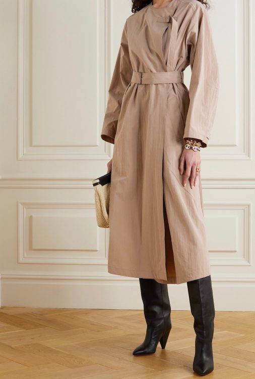 isabel marant ilifawn crinkled shell trench coat
