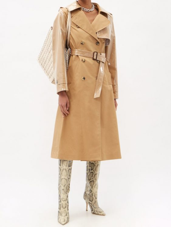 paco rabanne belted gabardine and pvc trench coat