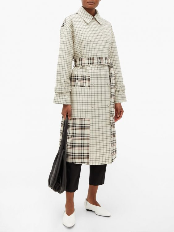 proenza schouler double breasted checked twill trench coat