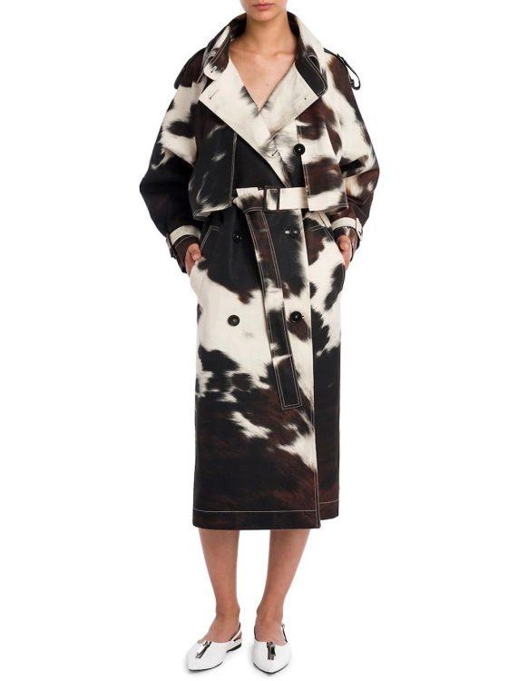 stella mccartney leanna bonded cow print trench coat