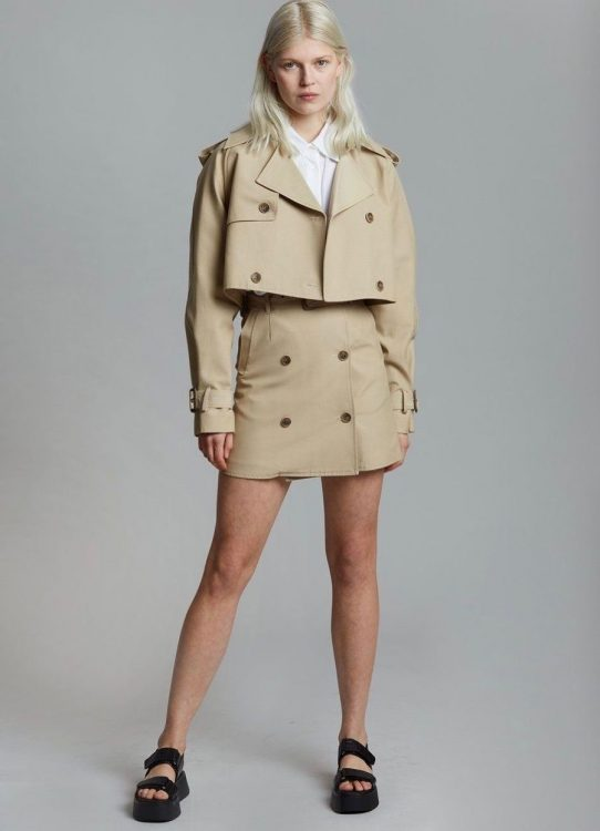 the frankie shop solene cropped trench jacket