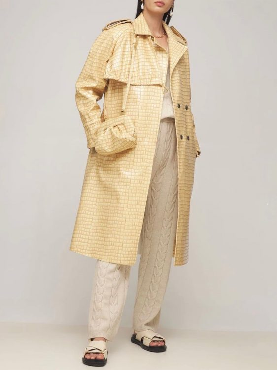 themoire croc embossed faux leather trench coat