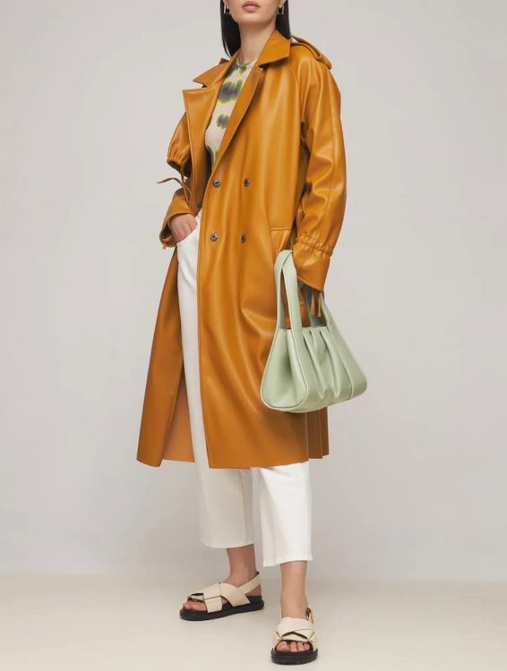 themoire faux leather trench coat