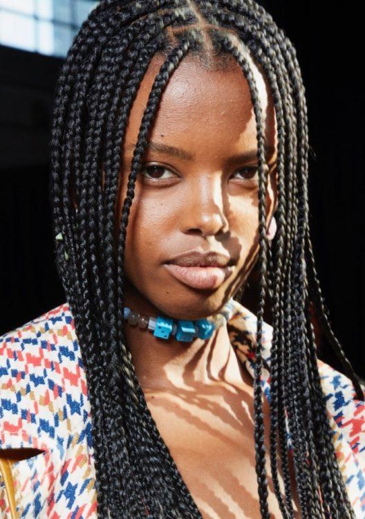 coach spring 2022 beauty natural makeup long braids
